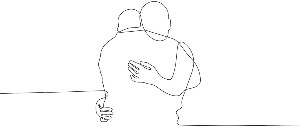 hugging scribble