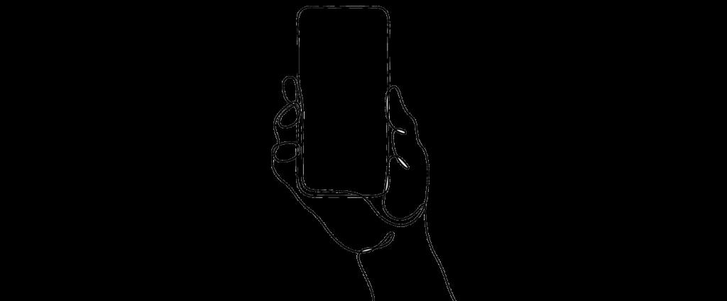 phone hand scribble