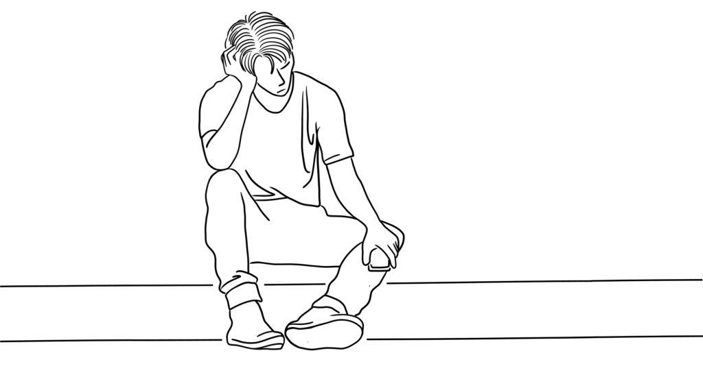 sad teenager male